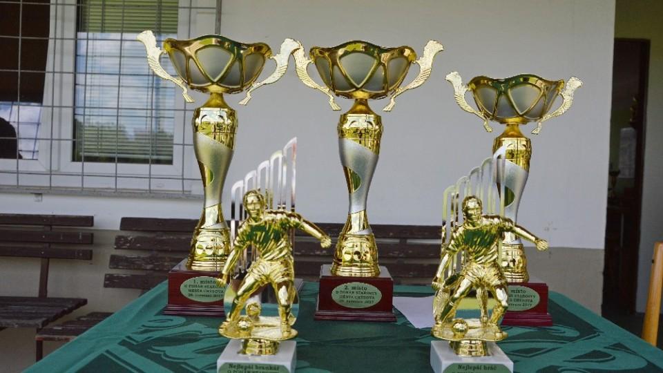 Poháry pro zúčastněná mužstva a nejlepšího střelce s brankářem.